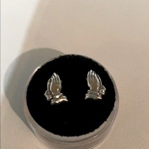 2 for $30 Praying hands silver studs